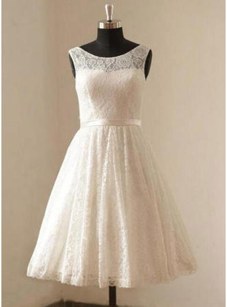 A-Line/Princess Scoop Knee-Length Wedding Dresses With Lace Sash