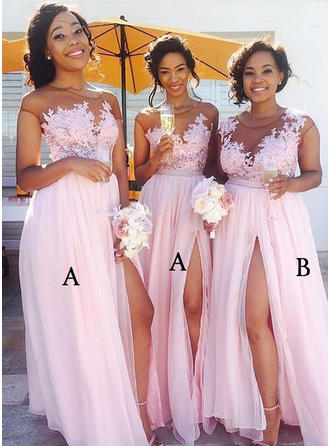 Chiffon Lace Sleeveless A-Line/Princess Bridesmaid Dresses Scoop Neck Split Front Floor-Length (007144976)