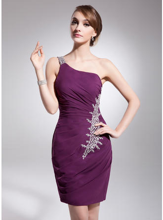 Sheath/Column One-Shoulder Knee-Length Cocktail Dresses With Ruffle Beading Sequins