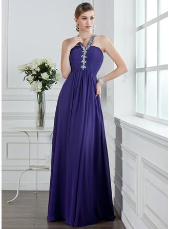 A-Line/Princess V-neck Floor-Length Prom Dresses With Ruffle Beading