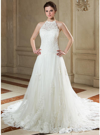 A-Line/Princess Beading Sequins Tulle Lace Court Train Three-dimensional Wedding Dresses