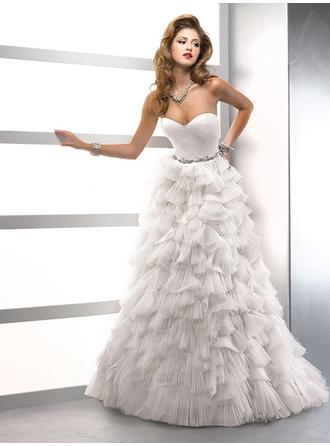 A-Line/Princess Sweetheart Floor-Length Wedding Dresses With Sash Beading Cascading Ruffles