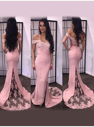 Satin Sleeveless Trumpet/Mermaid Prom Dresses Off-the-Shoulder Appliques Lace Split Front Sweep Train