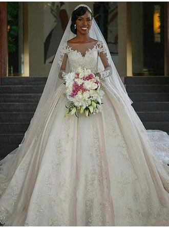 Scoop Ball-Gown Wedding Dresses Satin Appliques Lace Long Sleeves Chapel Train
