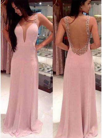 A-Line/Princess V-neck Chiffon Sleeveless Sweep Train Beading Evening Dresses