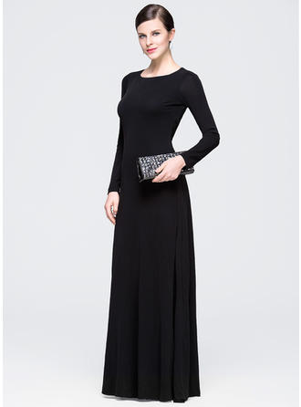 A-Line/Princess Scoop Neck Jersey Long Sleeves Floor-Length Ruffle Evening Dresses