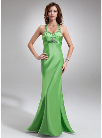 Charmeuse Sleeveless Empire Prom Dresses Halter Ruffle Beading Sequins Floor-Length