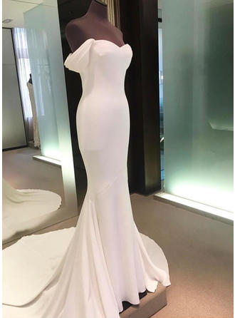 Simple Court Train Sheath/Column Wedding Dresses Off-The-Shoulder Stretch Crepe Sleeveless (002146944)