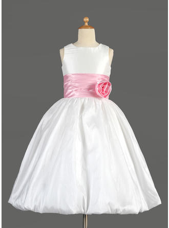 Empire Scoop Neck Tea-length With Sash/Flower(s)/Bow(s) Taffeta/Charmeuse Flower Girl Dress