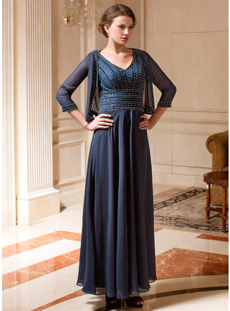A-Line/Princess Chiffon Sleeveless V-neck Ankle-Length Zipper Up at Side Mother of the Bride Dresses