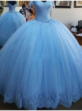 Tulle Sleeveless Ball-Gown Prom Dresses Off-the-Shoulder Lace Floor-Length