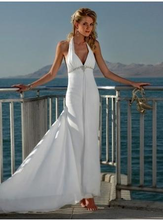 Empire Halter Court Train Wedding Dresses With Sash Beading