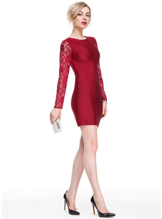 Sheath/Column Scoop Neck Lace Jersey Long Sleeves Short/Mini Cocktail Dresses