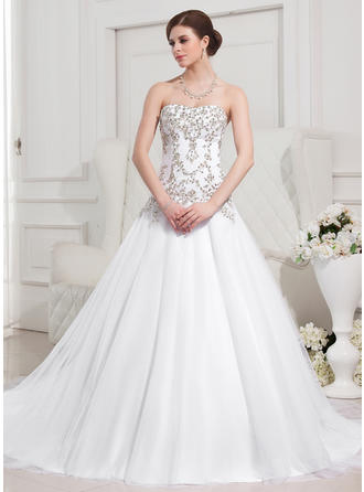 Magnificent Royal Train Ball-Gown Wedding Dresses Sweetheart Tulle Sleeveless