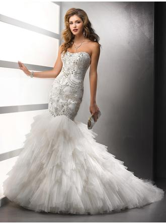 Trumpet/Mermaid Strapless Court Train Wedding Dresses With Beading