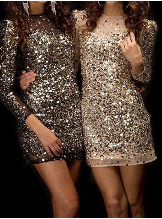 Sheath/Column Beading Sequins Homecoming Dresses Scoop Neck Long Sleeves Short/Mini