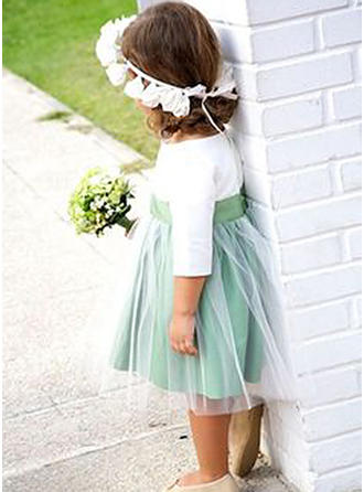 A-Line/Princess Scoop Neck Knee-length Satin/Tulle 3/4 Sleeves Flower Girl Dresses