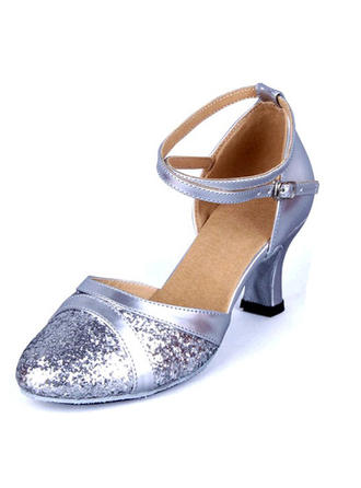 Women's Ballroom Sandals Leatherette Sparkling Glitter With Hollow-out Dance Shoes