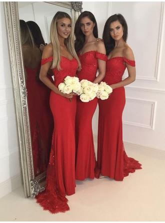 Lace Jersey Sleeveless Trumpet/Mermaid Bridesmaid Dresses Off-the-Shoulder Sweep Train