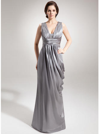 Charmeuse Sleeveless Mother of the Bride Dresses V-neck Sheath/Column Ruffle Beading Floor-Length