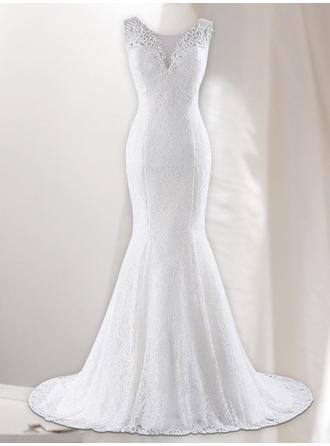 V-neck Trumpet/Mermaid Wedding Dresses Lace Lace Sleeveless Sweep Train