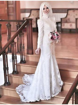 Scoop Sheath/Column Wedding Dresses Tulle Lace Long Sleeves Sweep Train