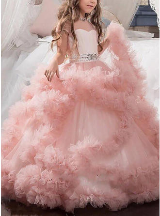 Sweetheart Ball Gown Flower Girl Dresses Sash/Beading Short Sleeves Floor-length
