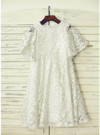 Scoop Neck A-Line/Princess Flower Girl Dresses Lace Lace/Appliques Short Sleeves Knee-length