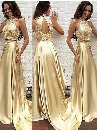 Charmeuse Sleeveless A-Line/Princess Prom Dresses High Neck Beading Sweep Train