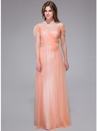 A-Line/Princess V-neck Floor-Length Tulle Prom Dress With Ruffle Flower(s)
