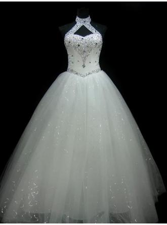Ball-Gown Tulle Sleeveless Halter Floor-Length Wedding Dresses