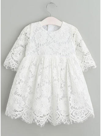 A-Line/Princess Scoop Neck Tea-length Lace Christening Gowns (2001216823)