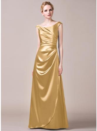 A-Line/Princess Charmeuse Bridesmaid Dresses Ruffle Off-the-Shoulder Sleeveless Floor-Length
