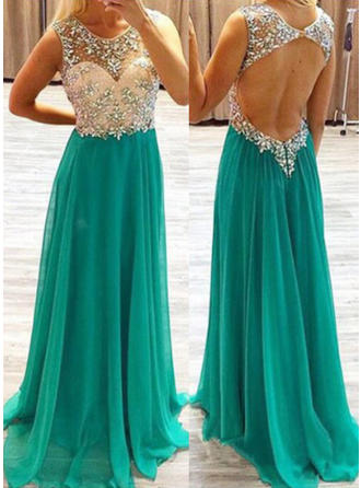 Chiffon Sleeveless A-Line/Princess Prom Dresses Scoop Neck Beading Sweep Train