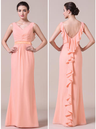 Chiffon Sleeveless Trumpet/Mermaid Bridesmaid Dresses V-neck Cascading Ruffles Floor-Length