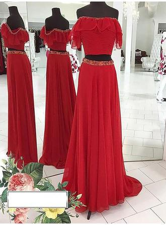 A-Line/Princess Off-the-Shoulder Chiffon Sleeveless Floor-Length Beading Evening Dresses