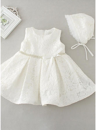 Satin Scoop Neck Bow(s) Baby Girl's Christening Gowns