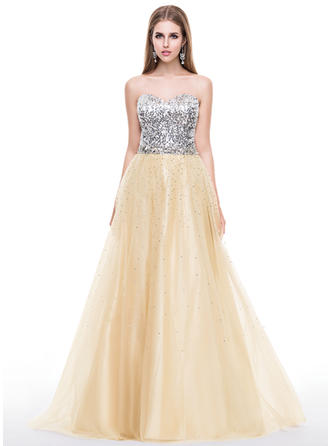 Tulle Sequined Sleeveless A-Line/Princess Prom Dresses Sweetheart Beading Sweep Train