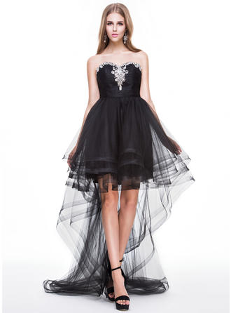 Tulle Sleeveless A-Line/Princess Prom Dresses Sweetheart Ruffle Beading Sequins Asymmetrical