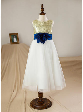 A-Line/Princess Scoop Neck Floor-length With Flower(s)/Sequins Satin/Tulle Flower Girl Dresses