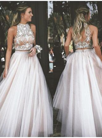 Chic High Neck Sleeveless Prom Dresses Floor-Length Ball-Gown