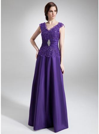A-Linie/Princess-Linie V-Ausschnitt Bodenlang Taft Kleider für die Brautmutter mit Rüschen Perlstickerei