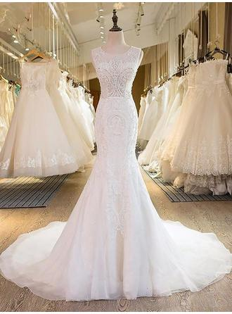 Elegant Sweep Train Trumpet/Mermaid Wedding Dresses Scoop Tulle Sleeveless (002210838)