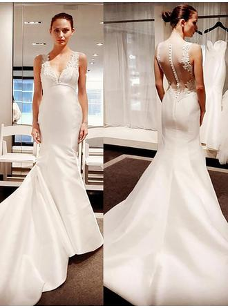Flattering Court Train Trumpet/Mermaid Wedding Dresses V-neck Satin Sleeveless