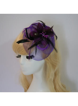 Feather/Net Yarn/Silk Flower With Feather/Silk Flower Fascinators Elegant/Charming Ladies' Hats