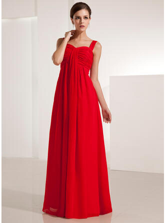Empire Sweetheart Floor-Length Chiffon Evening Dress With Ruffle