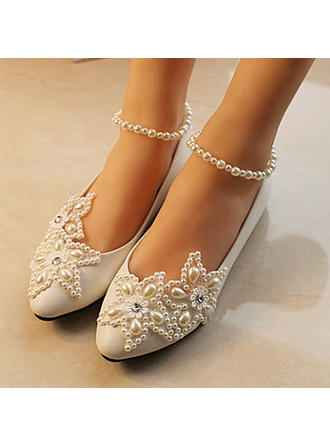 Women's Closed Toe Pumps Cone Heel Patent Leather With Imitation Pearl Rhinestone Stitching Lace Wedding Shoes