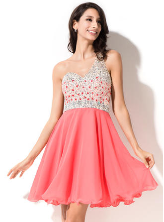 Simple Chiffon Sleeveless One-Shoulder Beading Sequins Homecoming Dresses