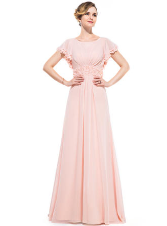 A-Line/Princess Scoop Neck Sweep Train Evening Dresses With Ruffle Beading Flower(s) Sequins