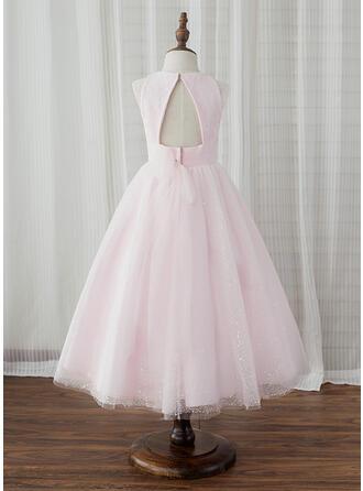 A-Line/Princess Tea-length Flower Girl Dress - Tulle Sleeveless Scoop Neck With Back Hole